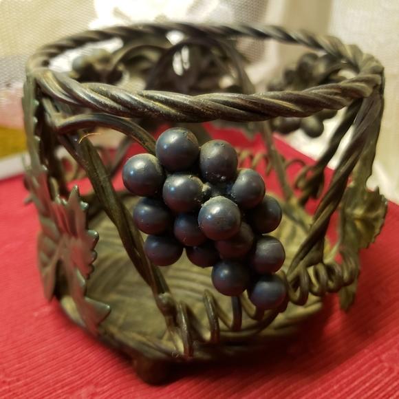 Vtg Heavy Metal Candle Holder Vines/Grapes/Leaves